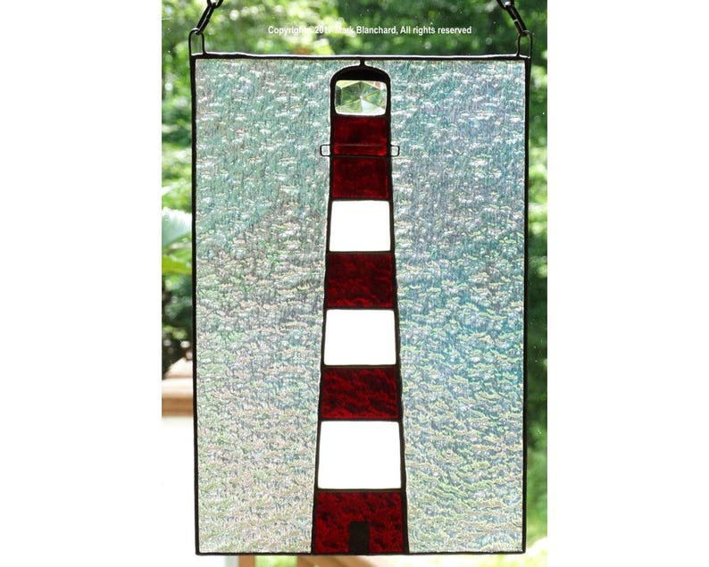 Assateague Lighthouse Stained Glass Window Panel image 0