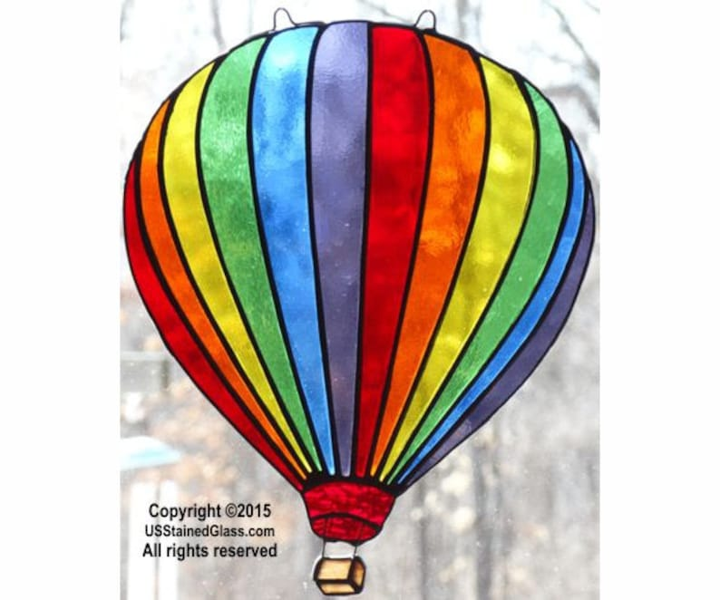 Hot Air Balloon Stained Glass Sun Catcher image 0