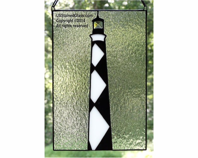 Cape Lookout Lighthouse Stained Glass Panel image 0