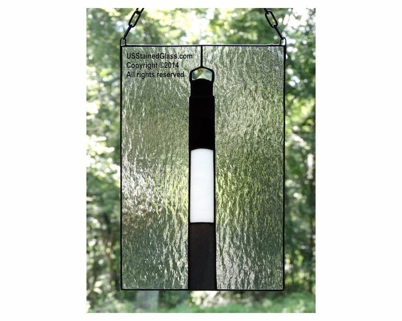 Oak Island Lighthouse Stained Glass Panel image 0