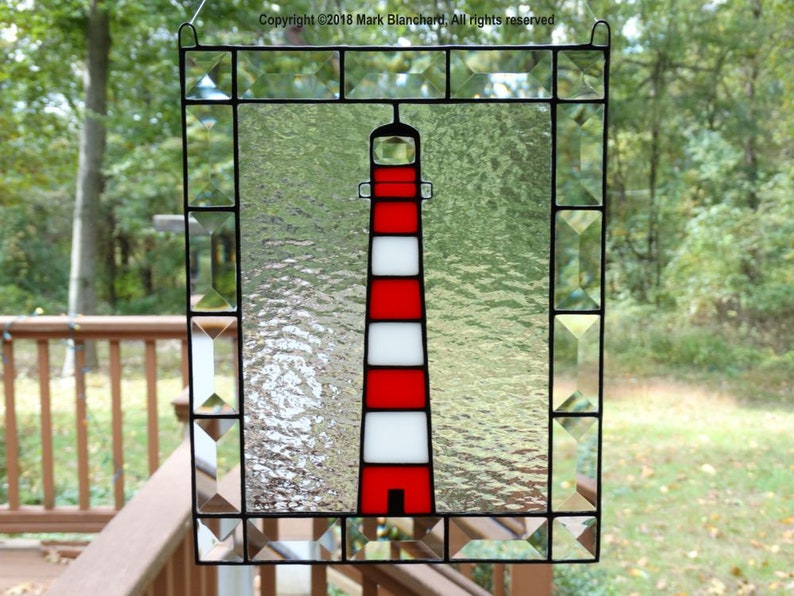 Assateague Lighthouse Stained Glass Window Panel with Bevels image 0