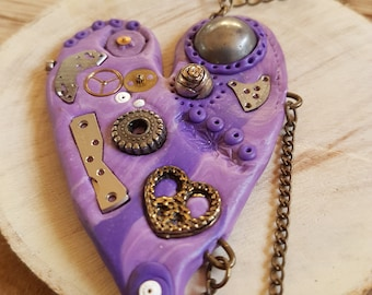 Handmade Polymer clay Steampunk purple loveheart necklace
