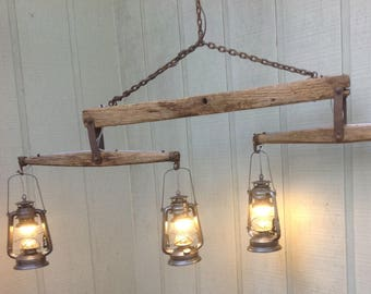Rustic Antique Double Tree Yoke Hitch with LED Lanterns