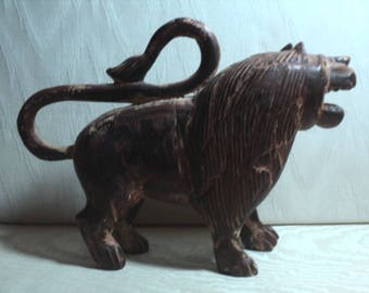 LION, HAND CARVED, Carved Wood, Home Decor, Office Decor, Vintage, Hand Made, Hand Carved, India, Farm House Decor, Rustic Chic, Primitive