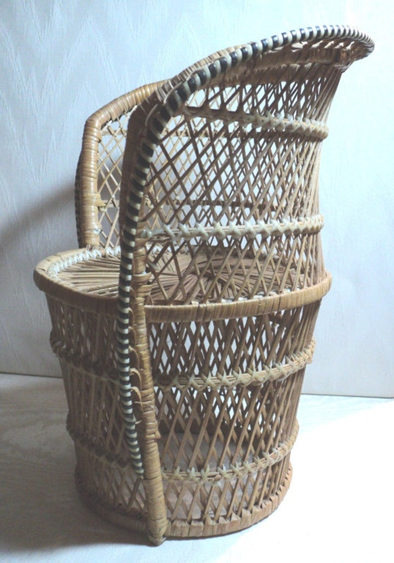 Doll Chair, Vintage Doll Chair, Wicker Doll Size Chair, American Girl Size  Chair, Wicker Tub Chair, Plant Stand