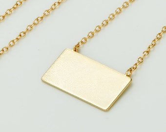 Square Charm Necklace - 925 Sterling Silver Square Necklace - Geometric Pendant Necklace