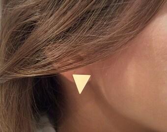 Stud Earrings, Minimalist Stud Earrings , Geometric Gold Earrings , Triangle Earrings , Gold Triangle Stud , Geometric Earrings