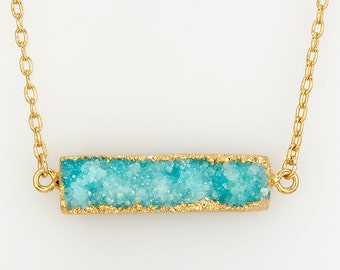 Turquoise Necklace , Turquoise Bar Necklace ,  Druzy Necklace , Druzy Crystal Necklace , Bohemian Necklace , Turquoise Gold Necklace