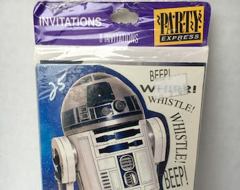 R2D2 Star Wars Party Invitations 8 pack 1997