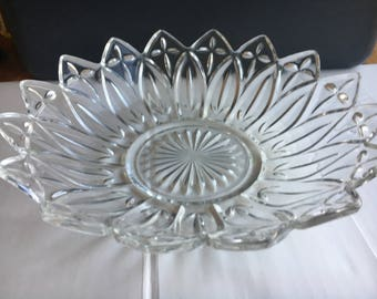 Clear Federal Glass Petal Serving Bowl 10 1/4''