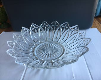 """Federal Glass Clear Petal Serving Bowl 10 1/2"""""""