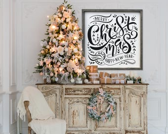 "MORE COLORS & SIZES 36x36 ""Merry Christmas and a Happy New Year"" / christmas / hand painted / wood sign / farmhouse style / rustic"