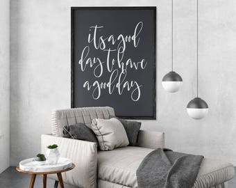 "MORE COLORS & SIZES 26x34 ""It's a good day to have a good day"" / hand painted / wood sign / farmhouse style / rustic"