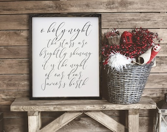 """MORE COLORS & SIZES 32x28 """"O Holy Night the stars are brightly shining"""" / christmas / hand painted / wood sign / farmhouse style / rustic"""