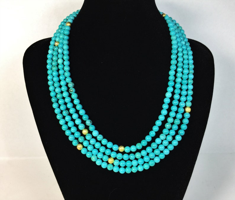 Sleeping beauty blue Blue turquoise necklace Multi strands Gift for her. Extra long