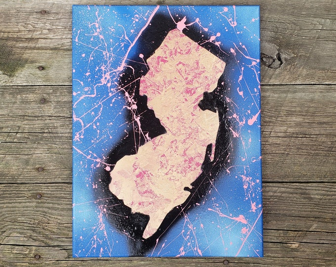 """NJ State 12"""" x 16"""" Canvas Painting"""