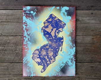 "NJ State 12"" x 16"" Canvas Painting"
