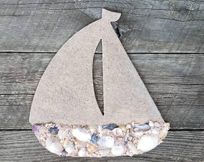 "12"" Sailboat Shell Covered Wall Hanging"