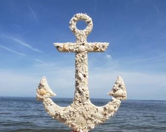 Anchor, Shell Art, Wall Hanging, Ship Anchor, Nautical, Coastal, Coastal Wall Art, Beach Decor, Anchor Decor, Coastal Christmas, All Natural