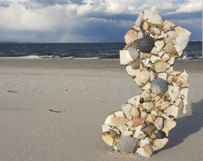 """12"""" Shell Covered NJ Wall Hanging"""