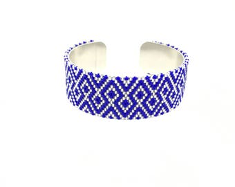 Bright blue and silver Japanese beadwoven cuff