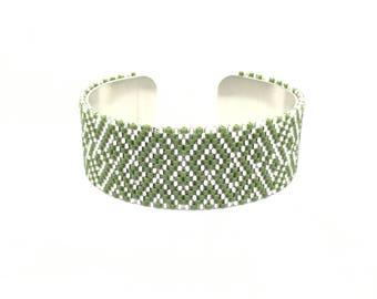 Khaki and silver Japanese beadwoven cuff