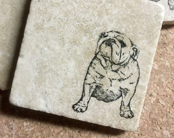 English Bulldog Coasters ~ Coasters  ~  Dog Coasters ~ Stone Coasters  ~ Housewarming Gift~ Pet Coasters ~ Bulldog Gift