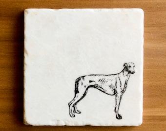 Greyhound Etched Glass Coaster