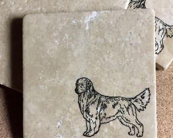 Golden Retriever Coasters ~ Golden Retriever Gift ~ Tile Coasters ~ Housewarming Gift ~ Dog Coasters ~ Dog Gift