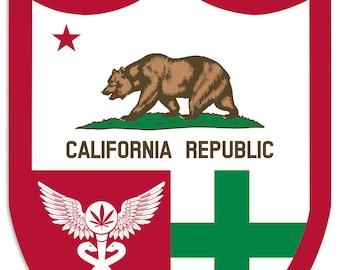 "California Flag, Green Cross, Medical Marijuana, Cannabis,  Shield, Wall Decor, Cannabis Dispensary Decor, Man Cave Sign, Metal Sign 18""x24"""