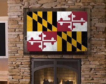 Maryland State Flag, Go to Maryland, METAL Sign, Optional Rustic Wood Frame, Wall Decor, Wall Art, Vintage, FREE SHIPPING!