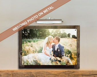 Your Photo on METAL, Wedding Pictures, Bridal Gift, Optional Reclaimed Barnwood Frame, American Steel, Custom Wall Decor,, FREE SHIPPING