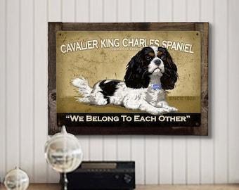 King Charles,  Dog, METAL Sign, Optional Reclaimed BarnWood Frame, American Steel, Wall Decor, Wall Art, Vintage, FREE SHIPPING!