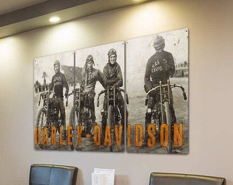 Harley Davidson Motorcycles Wall Art, Wrecking Crew Triptych METAL Sign, Optional Rustic Wood Frame, FREE SHIPPING!