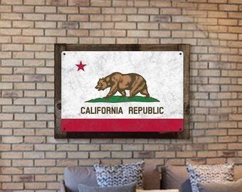 California State Flag, California Bear, Eureka! ; The Golden State, Metal Sign, Optional Rustic Wood Frame, Wall Art, FREE SHIPPING!