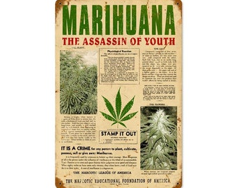 """The Assassin Of Youth Reefer Madness Marijuana Metal Sign 12"""" x 18"""""""