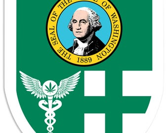 "Washington Flag, Green Cross, Medical Marijuana, Cannabis,  Shield, Wall Decor, Cannabis Dispensary Decor, Man Cave Sign, Metal Sign 18""x24"""