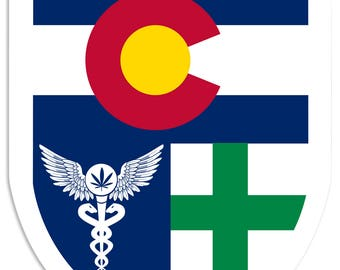 "Colorado Flag, Green Cross, Medical Marijuana, Cannabis,  Shield, Wall Decor, Cannabis Dispensary Decor, Man Cave Sign, Metal Sign 18""x24"""