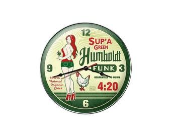 "Humboldt Funk 420 Marijuana Metal Clock 14"" Round"
