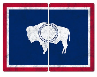 """Wyoming State Flag, Forest West, 2 Panel Metal Sign, Wall Decor, Wall Art, Vintage, 48""""x36"""""""