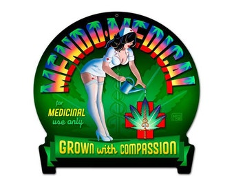 "Mendo Medical Marijuana Metal Sign 16"" x 15"""