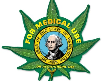 "Marijuana Leaf, State Flag Options: Colorado, Washington, California, Oregon,  Custom Hemp Leaf, Metal Sign, 12""x15"""