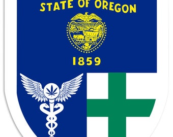"Oregon Flag, Green Cross, Medical Marijuana, Cannabis,  Shield, Wall Decor, Cannabis Dispensary Decor, Man Cave Sign, Metal Sign 18""x24"""