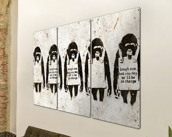 Banksy Laugh Now, Monkeys, Wall Art, Triptych METAL Sign, Optional Reclaimed Barn Wood Frame, FREE SHIPPING!