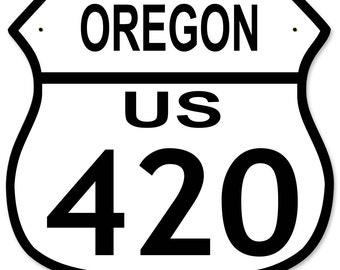 "Highway Route 420 US, New York, California, Oregon, Washington, Colorado Metal Shield Highway Sign 12""x 15"""