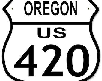 "Highway Route 420 US, New York, California, Oregon, Washington, Colorado Metal Shield Highway Sign 15""x 15"""