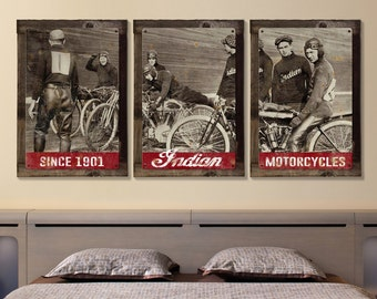 Indian, Motorcycles, Vintage, Photo, Triptych METAL Sign, Wall Art , Optional Reclaimed Barn Wood Frame, FREE SHIPPING!