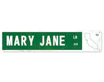 Mary Jane Lane, Metal Street Sign, State Options: California, Colorado, Oregon, Washington, New York, Florida, Texas, FREE SHIPPING!