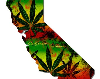 California Dreaming Marijuana Cannabis Metal Sign