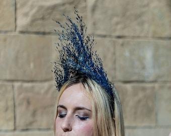 crown of blue flowers preserved dark high triangular